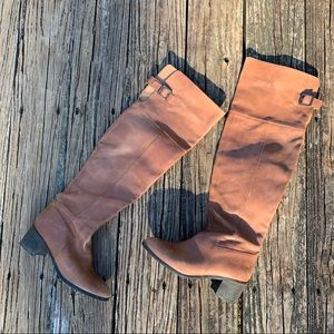 ALDO Brown Leather Over Knee Boots | 7.5